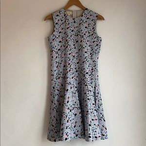 Marni Cotton Print Silk-Lined Fitted Flare Dress